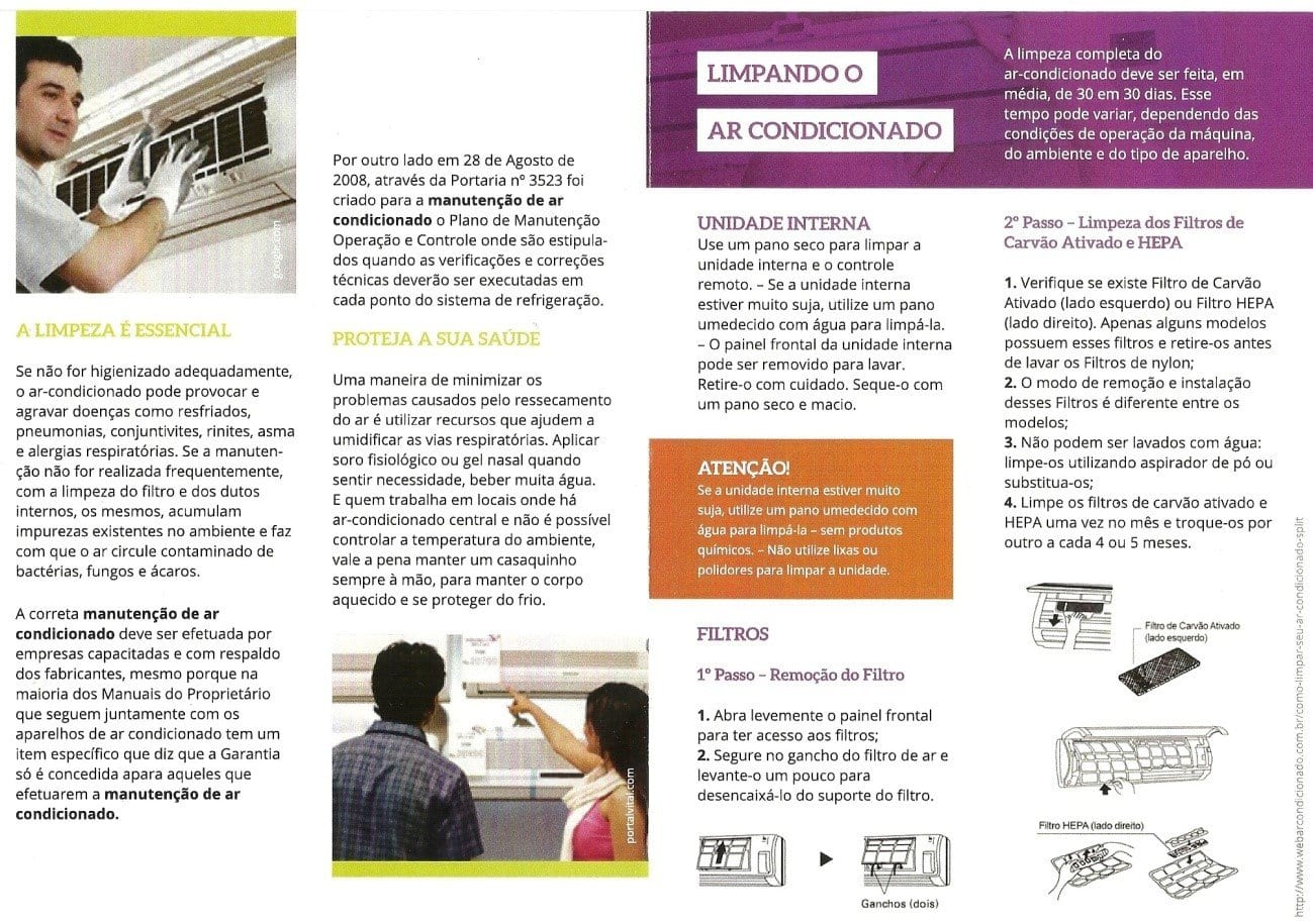 Explanatory brochure for students and guidance to professionals responsible for cleaning the air conditioning unit.