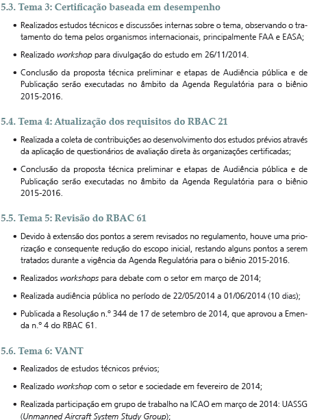 Частичный пример список шагов, выполненных по нормативной повестки дня 2014 ANAC