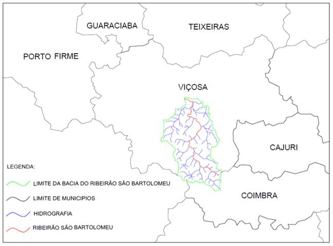 Figura 1. Localização da bacia do Ribeirão São Bartolomeu. Fonte: Autor.