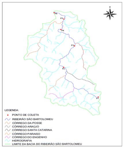 Figura 2. Localização dos pontos de coleta selecionados. Fonte: Autor.