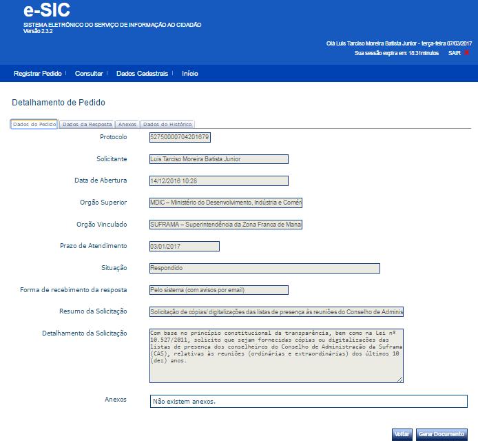 Detalhamento de pedido de informação feito à Suframa no e-SIC (protocolo nº 52750.000704/2016-79). Fonte: sítio eletrônico do e-SIC.