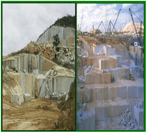 Extração de rochas ornamentais, lavra de maciços. Fonte: ABIROCHAS (2010).