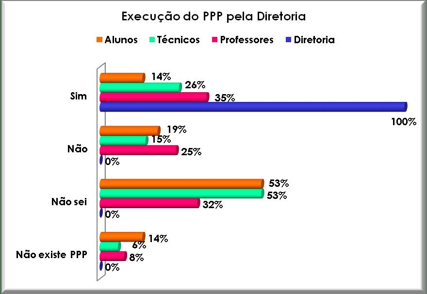 Execução do PPP pela Diretoria Executiva. Fonte: Autor, 2008.