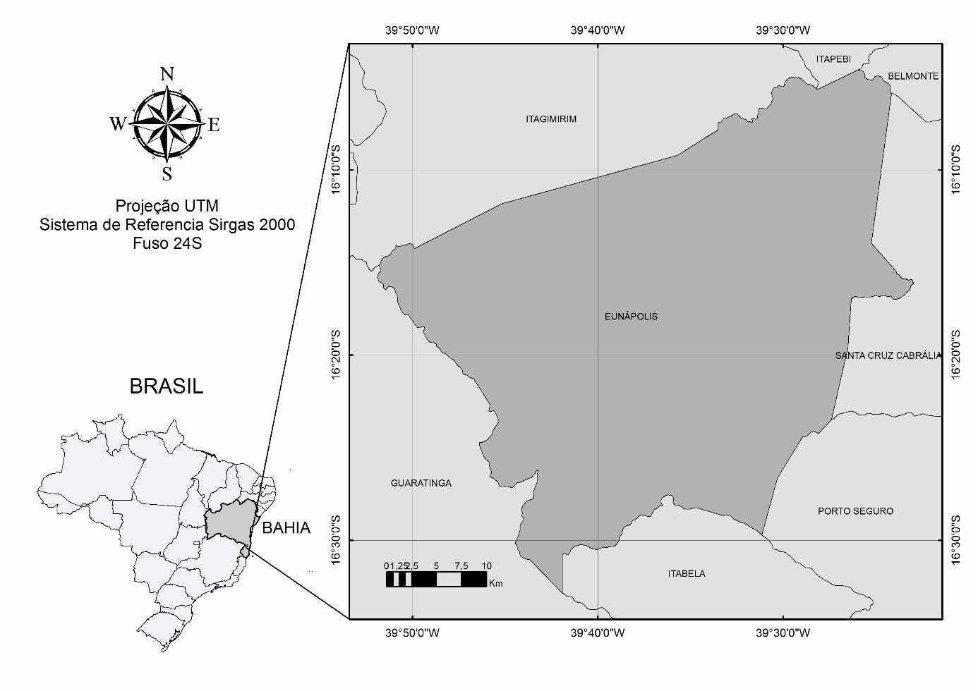 Localização do município de Eunápolis - Bahia. Fonte: IBGE (2015).