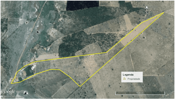 Polígono da propriedade. Google Earth Pro 2016