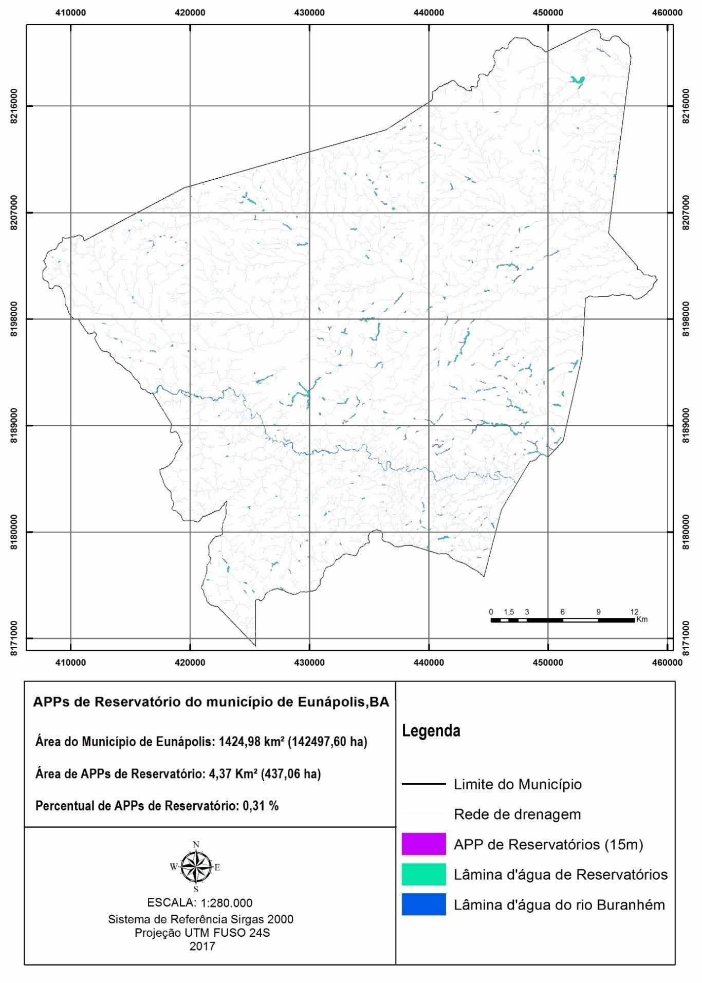 Área de preservação permanente no entorno dos reservatórios no município de Eunápolis, BA. Fonte: O autor