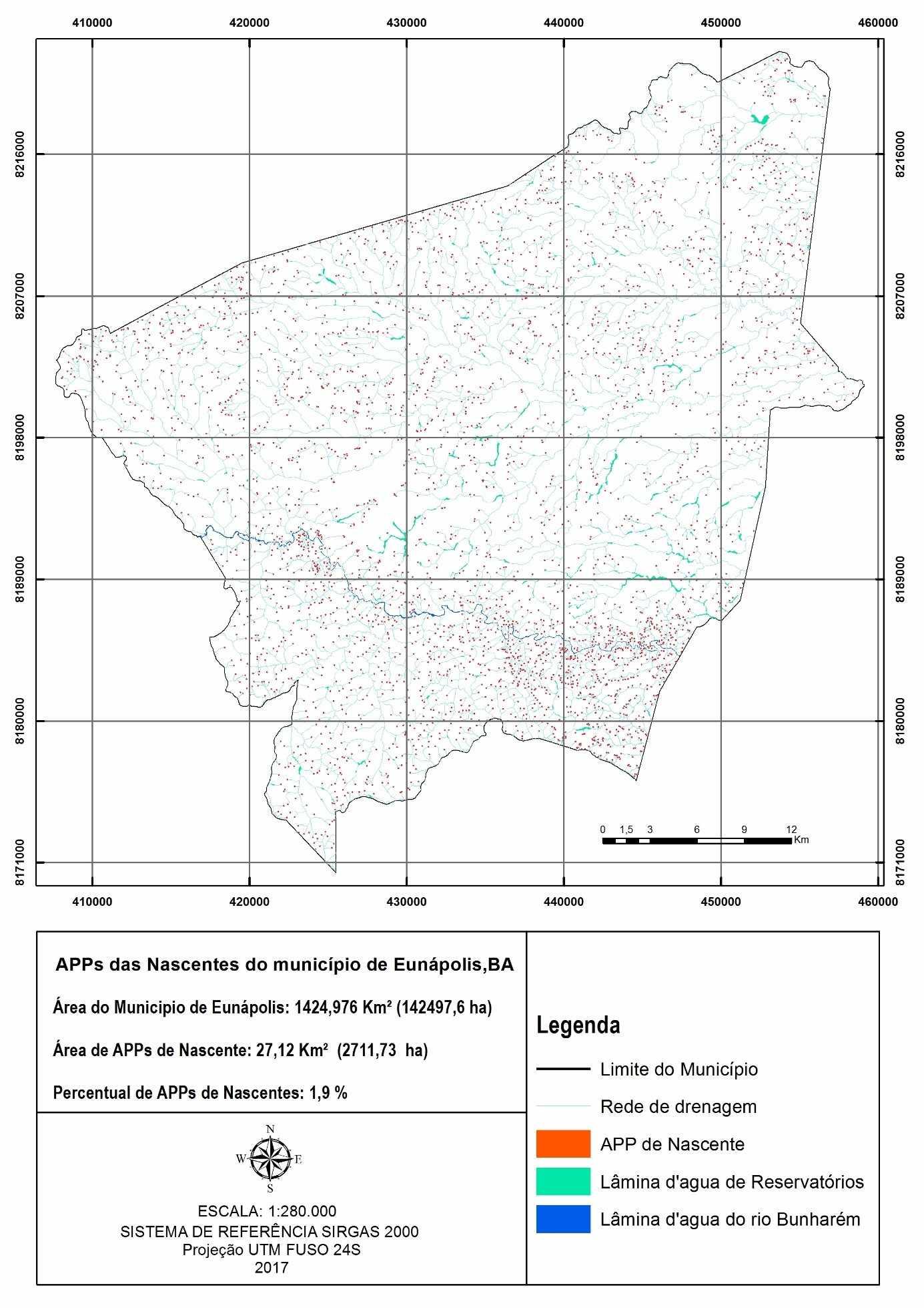 Área de preservação permanente das nascentes no município de Eunápolis, BA. Fonte: O autor