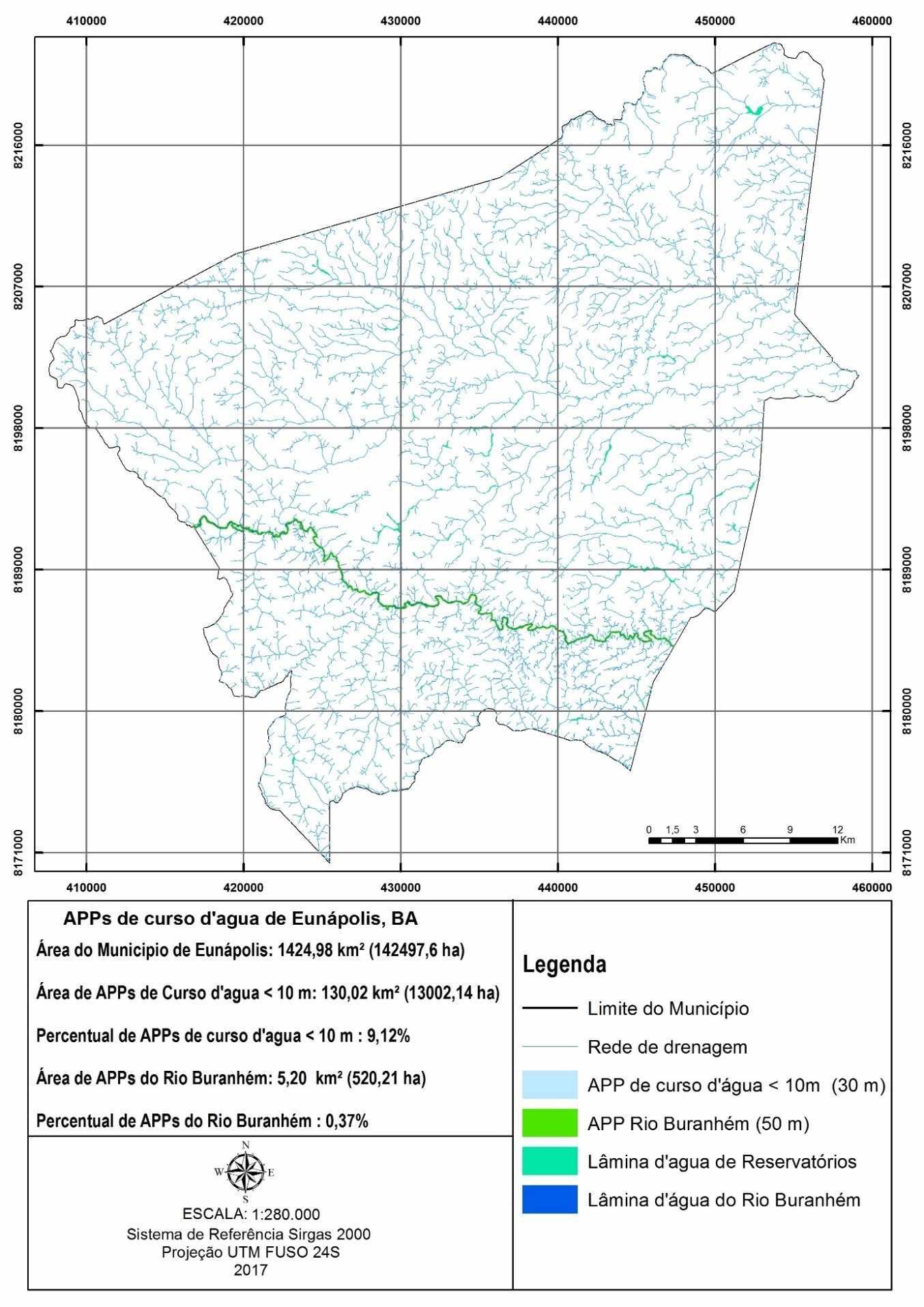 Área de preservação permanente dos cursos d'agua no município de Eunápolis, BA. Fonte: O autor
