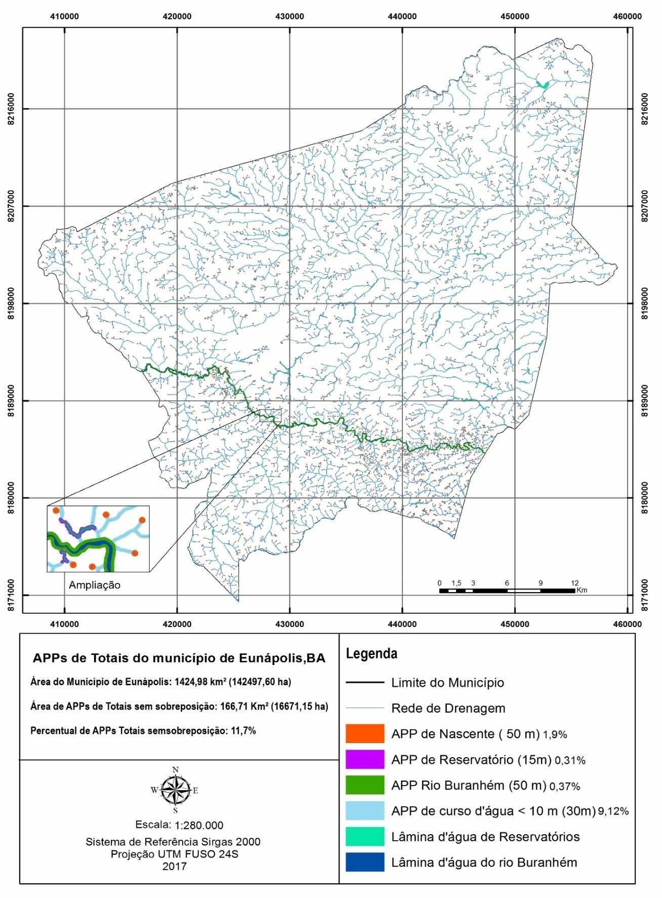 Áreas de preservação permanente totais no município de Eunápolis, BA. Fonte: O autor