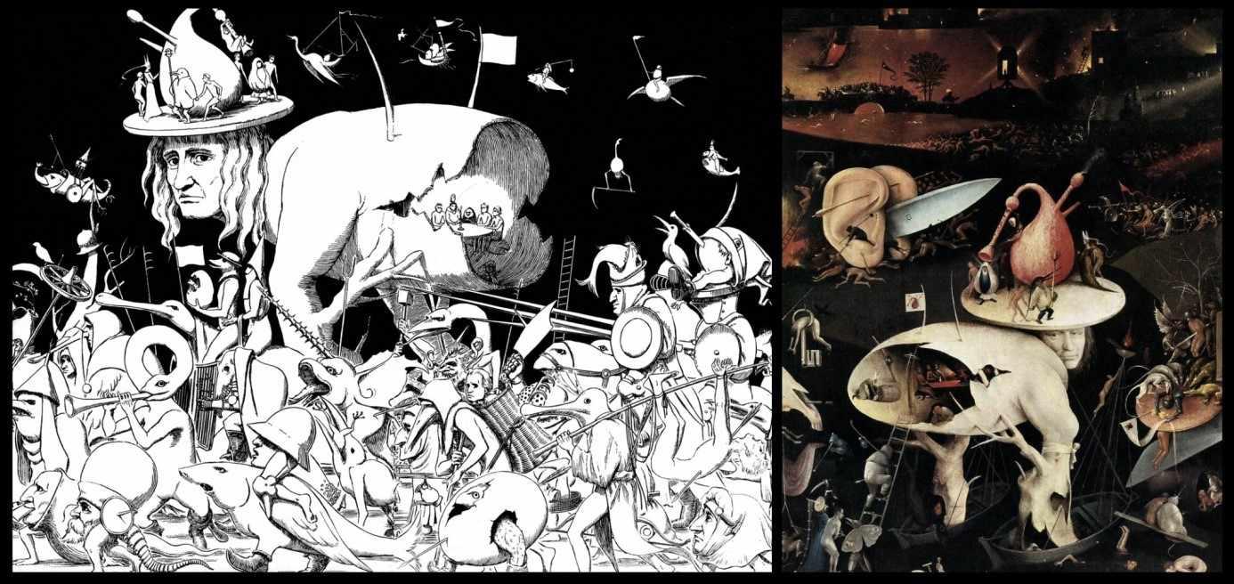 """Figura 4 - Comparação entre arte de Miura para Berserk e detalhe do """"Jardim das Delícias Terrenas"""" de Bosch. Fonte: www.exprofundis.com/the-art-of-berserk/"""