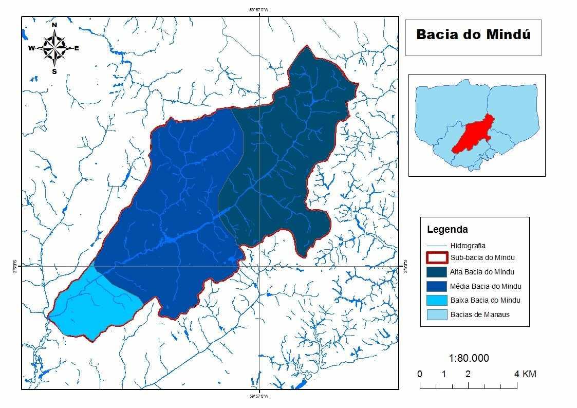 Figura 3 - Mapa da sub-bacia do igarapé do Mindu. Fonte: SEMMAS (2017).