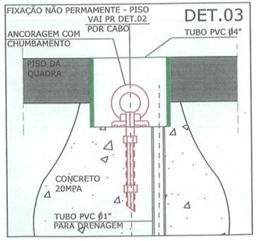 Figura 9 - Detalhe de fixação não permanente no piso, preso em gancho embutido no piso. Fonte: Projeto do Autor