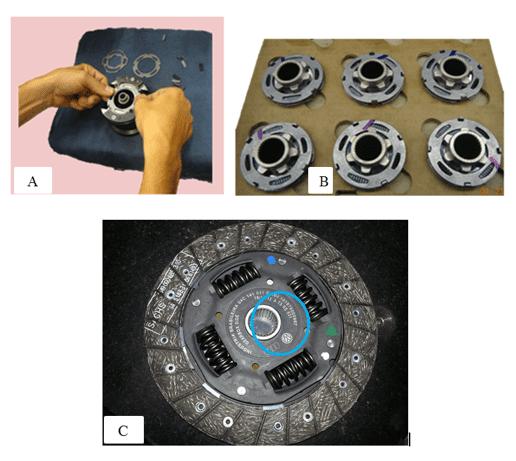 Figura 8 – a) Montagem da pré-amortecimento em uma única operação. b) Antes - o pré-amortecimento era acomodado em berço de papelão. c) Conjunto completo montado. Destaque demostrando pré-amortecimento montado no conjunto. Fonte: Acervo da empresa.