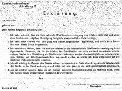 ANEXO 1 - Declaração Nazista em Alemão (original).Fonte: Citado no livro Testemunhas de Jeová - Proclamadores do Reino de Deus (1993), pela Sociedade Torre de Vigia de Bíblias e Tratados da Pensilvânia, p. 661.