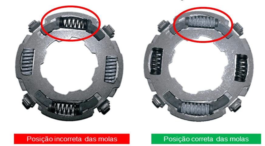 Figura 7 – Inversão na montagem de molas do pré-amortecimento. Fonte: Empresa pesquisada (2013).