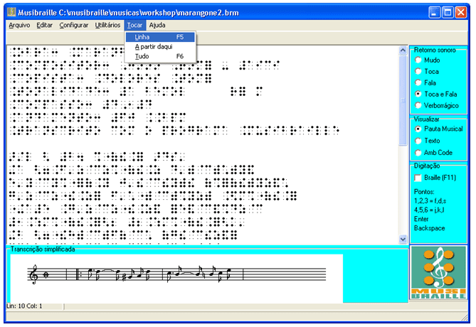Figure 5 - Example of MusiBraille software operation. Source: http: //intervox.nce.ufrj.br/musibraille/textos.htm