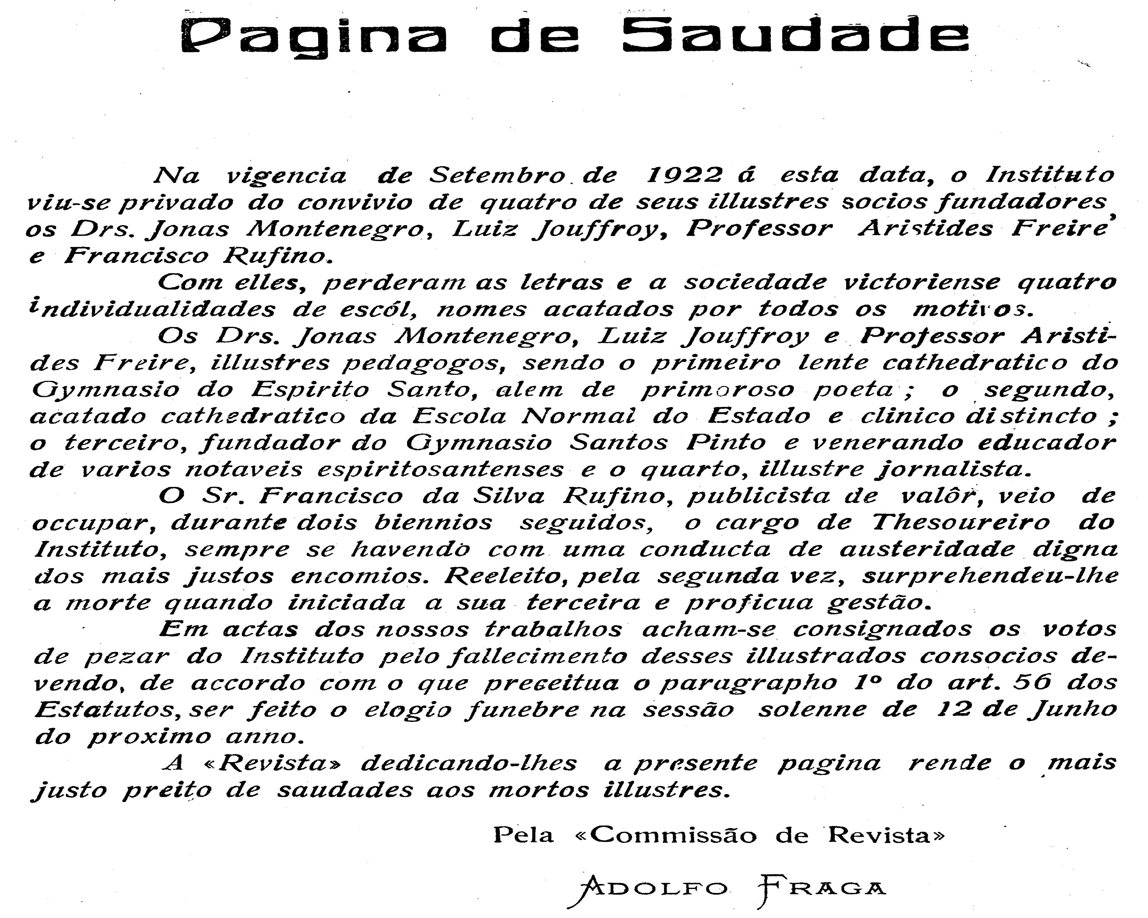 Figura 2 – Páginas de Saúde. Fonte: Revista do IHGES nº IV, ano IV, 1925. Arquivos do Instituto Histórico e Geográfico do Espírito Santo: Vitória, 2012.