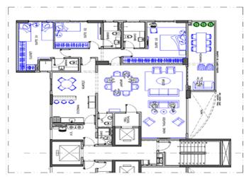 Figura 02 - Planta Layout Apartamento Pav. Ímpar em Autocad (DWG). Fonte: Arquiteto Olegário de Sá (2011)