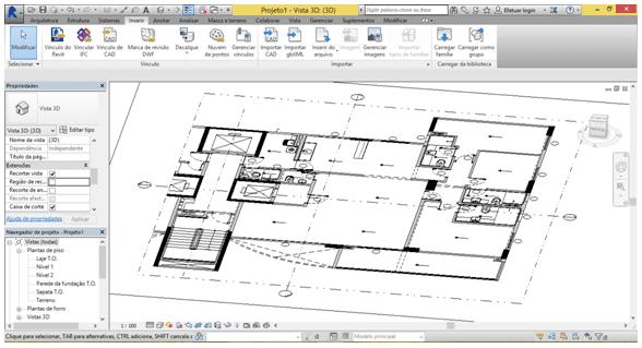 Figura 03 - Configuração da Planta DWG na Vista 3D no Software Revit. Fonte: Autores (2015)