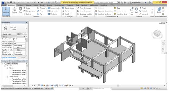 Figura 6 - Esquema em três dimensões do conjunto estrutural do projeto base no Revit. Fonte: Autores (2015)