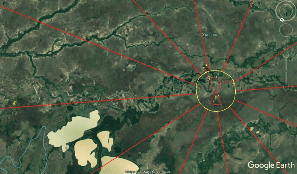 Figura 1: Alinhamento principal, Yacuna – Beni, Bolívia. Imagem satelital - Google Earth