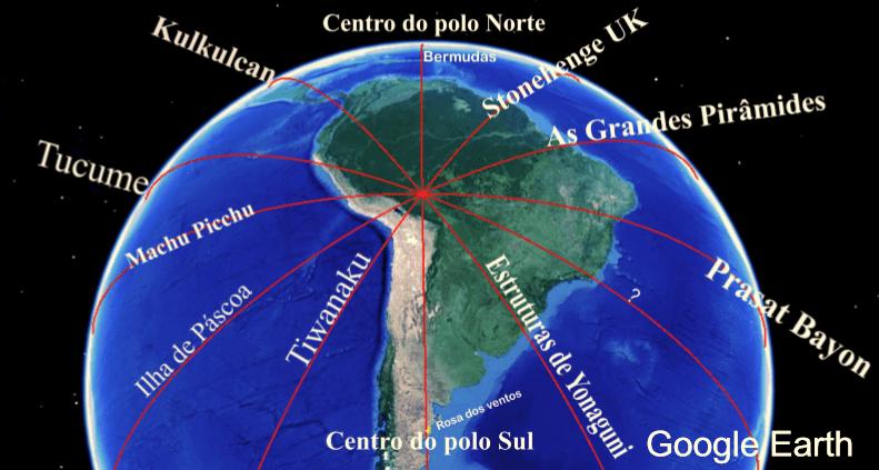 Figura 5 - Alinhamento principal com 12 segmentações. Imagem satelital - Google Earth