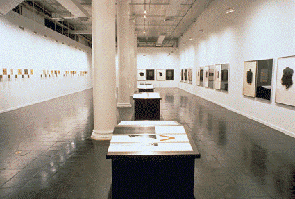 Figure 10 - Mary Kelly, Interim, 1984 – 1989. Installation in four parts. Background left, Postestas, Background right, Corpus. Foreground, History. Dimensions Variable. Installation View, New Museum of Contemporary Art, New York, 1990. [http://www.marykellyartist.com/interim.html]
