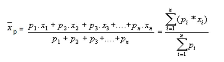 Equação 1 -Média ponderada. Fonte: Estatística básica (Toledo & Ovalle, 2013).