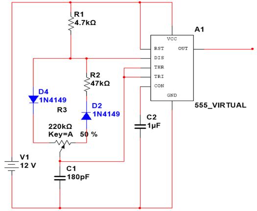 Figura 1 – Circuito PWM com ciclo de trabalho variável.