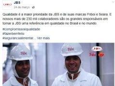 Figura 2: Vídeo publicado na fanpage da JBS em resposta a Operação Carne Fraca. Fonte: Facebook JBS (2017)