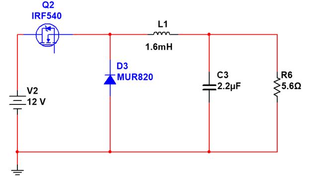 Figura 3 - Conversor Buck 12 V para 6 V.
