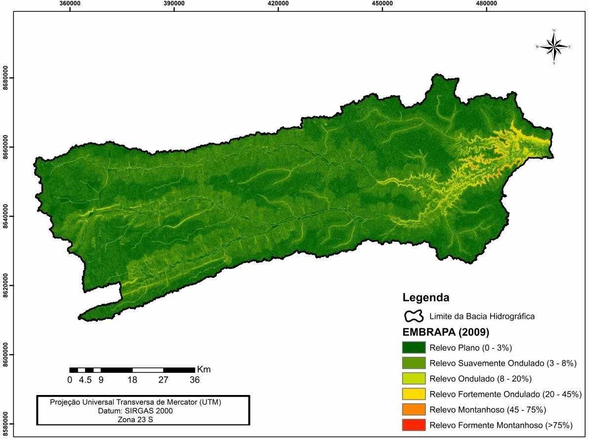 Figura 4: Espacialização da declividade na bacia hidrográfica do rio de Ondas.