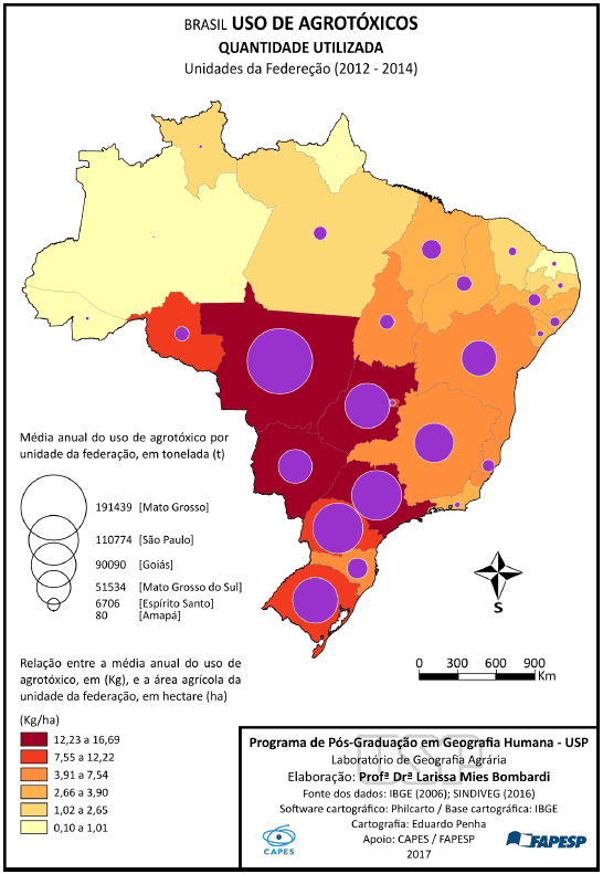 Figura 1 - Consumo de Defensivos Agrícolas Brasil (BOMBARDI, 2017).