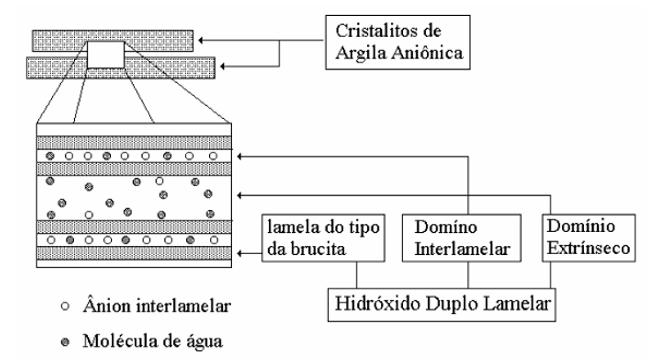 Figura 3 - Visão esquemática dos domínios de água nos HDLs, intrínseco e extrínseco. Fonte: CREPALDI & VALIM (1998).