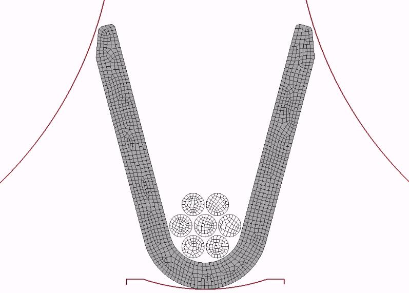 Figura 5: Malha do processo de crimpagem estudado.
