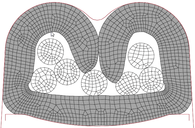 Figura 7: Terminal crimpado com atrito punção-terminal de 0.40 e velocidade do punção de 7,5 m/s.