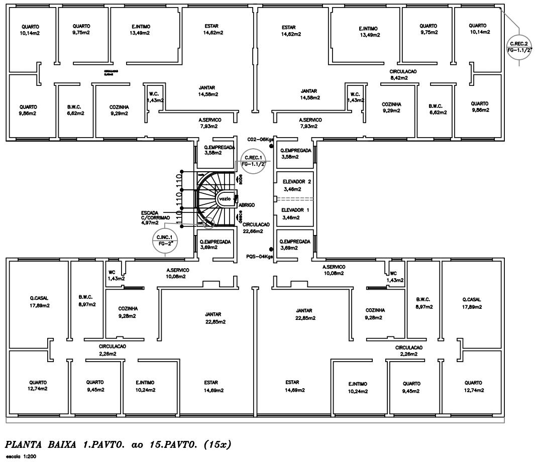 Figura 1 - Planta Baixa Pavto Tipo (15x). Fonte: Edifício Estudado