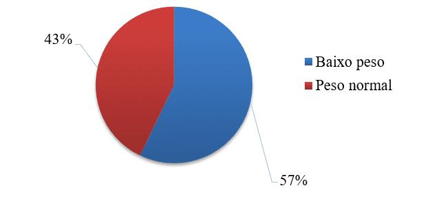 Gráfico 3 - Percentual referente ao IMC do grupo estudado. FONTE: Dados produzidos pela presente pesquisa