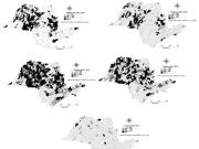 Figura 1 - Distribuição espacial das taxas de casos confirmados de Dengue por 100 mil habitantes dos municípios do Estado de São Paulo, Brasil, no período de Janeiro a Maio de 2015.