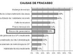 Figura 1- Gráfico de barras representando as principais causas de fracassos em empresas.Fonte: Análise dos resultados. Archibald & Prado (t.i.), 2011.