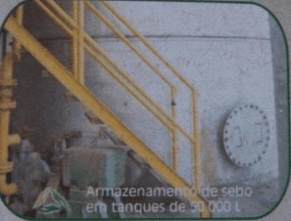 Figura 19: Armazenamento de sebo em tanques de 50.000 L. Fonte: Catálogo disponibilizado pela empresa Grande Rio Reciclagem Ambiental