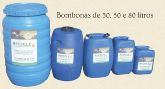 Figura 21: Bombonas com óleo de fritura usado. Fonte: Catálogo disponibilizado pela empresa Grande Rio Reciclagem Ambiental