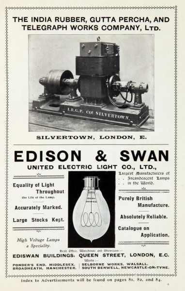 Figure 6 – display of lamps manufactured by Edson and Swan company in 1899. Source: http://www.gracesguide.co.uk/File:Im189908Cass-Edi.jpg (2015)