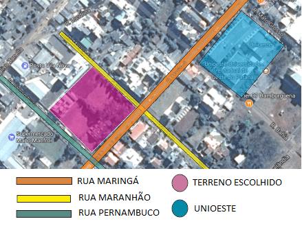 Figura 11 – Mapa de localização do terreno. Fonte: Google Maps, 2017. (Imagem alterada pela autora do projeto no programa Corel Draw)