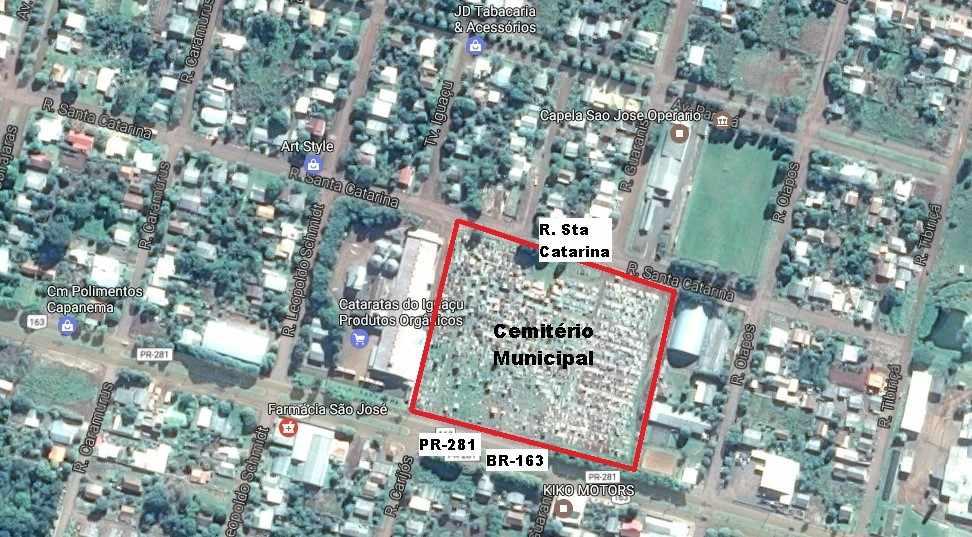 Figura 13: Vista aérea Cemitério Capanema. Fonte: https://www.google.com.br/maps/ (Alterado pela autora)