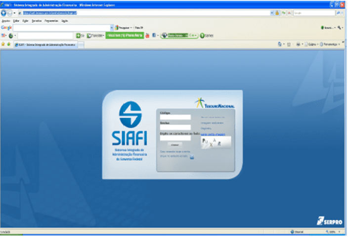Figura 2: Tela inicial de acesso do novo SIAFI.Fonte: Tesouro Nacional (2016)