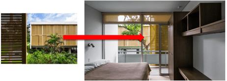 Figura 02 – Vista do dormitório. Fonte: Archdaily, 2015. (Imagem alterada pela autora do projeto no programa Corel Draw)