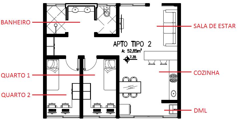 Figura 20 – Apartamento tipo 2. (Imagem desenvolvida pela autora do trabalho)
