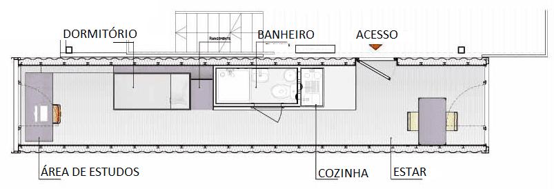 Figura 04 – Planta baixa do dormitório. Fonte: Sustentarqui, 2015. (Imagem alterada pela autora do projeto no programa Corel Draw)