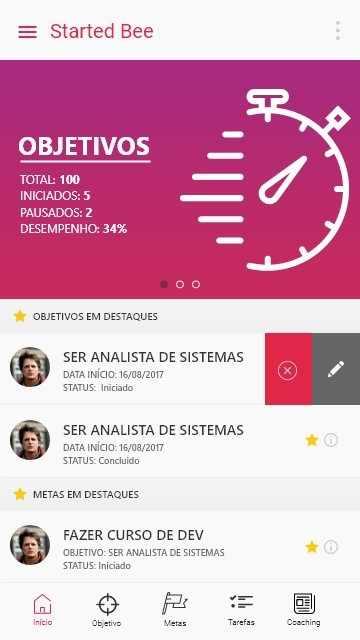 Figura 16: Tela Home com menu tabs slide de com desempenho de objetivo. Fonte: elaborada pelo autor